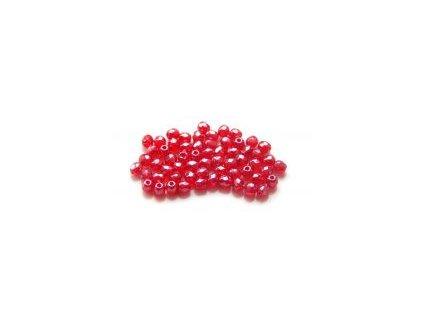 Broušené korálky 3mm, červený s bílým listrem