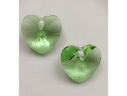 Srdce skleněné světle zelené