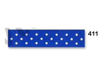 stuha satén puntík modrá