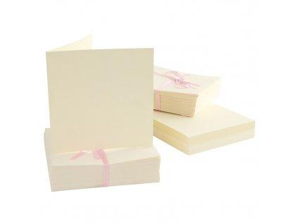 13x13 přání a obálky 10ks krémové