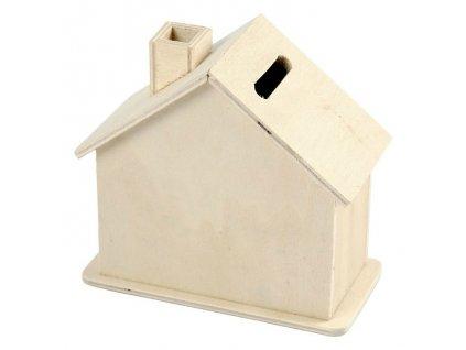 Dřevěná kasička domeček