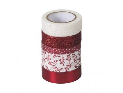 Samolepicí pásky washi červené a bílé odstíny