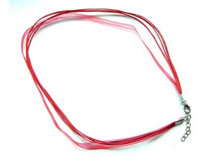Náhrdelník se stuhou a zapínáním červená