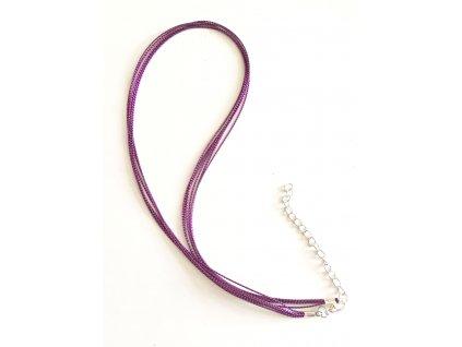 Náhrdelník se zapínáním ze 6 šňůrek, fialový