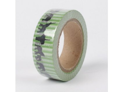 Samolepicí washi páska zelená se slony