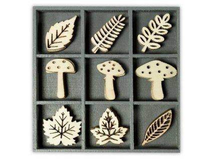 Mix dřevěných dekorací houby a listy