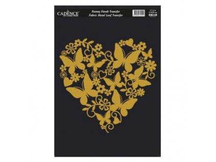 zlata nazehlovaci nalepka 21x30 cm srdce