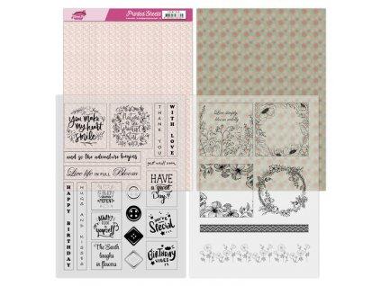Jednostranné a transparentní papíry Floral Pink