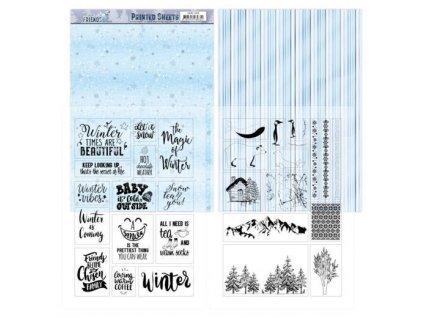 Jednostranné a transparentní papíry Winter Friends