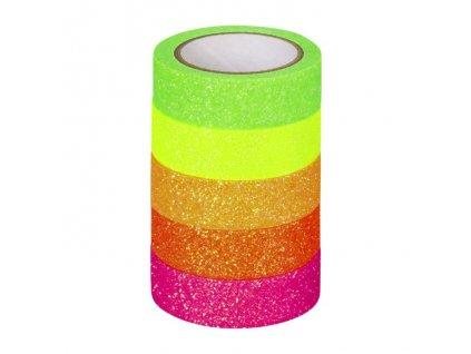 Samolepicí pásky neonový třpytivý mix
