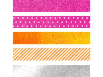 Samolepicí papírová washi páska sada - oranžovo růžový mix