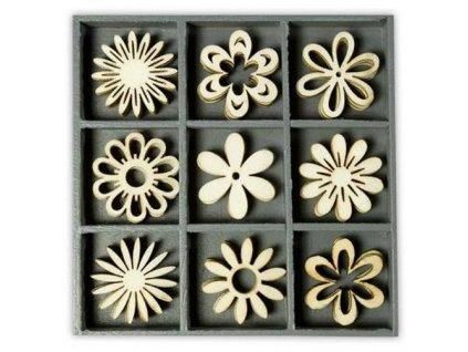 Mix dřevěných dekorací květiny sedmikráskové