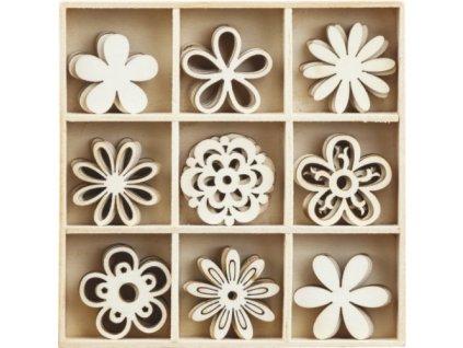Mix dřevěných dekorací květiny
