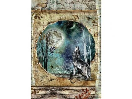 stamperia rice paper a4 cosmos wolf moon dfsa4388