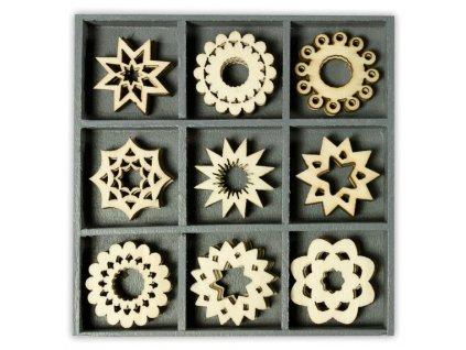 Mix dřevěných dekorací Květinky