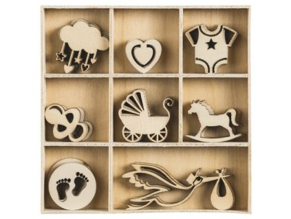 Mix dřevěných dekorací Pro miminko