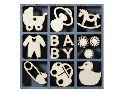 Mix dřevěných dekorací Narození miminka