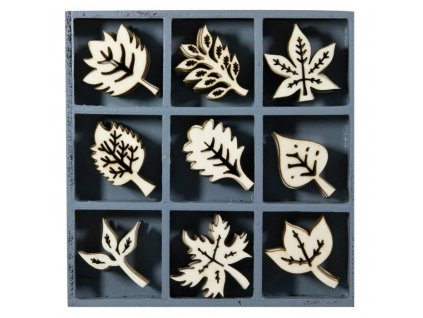 Mix dřevěných dekorací Listy