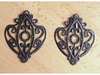 Kovový ornament staroměď