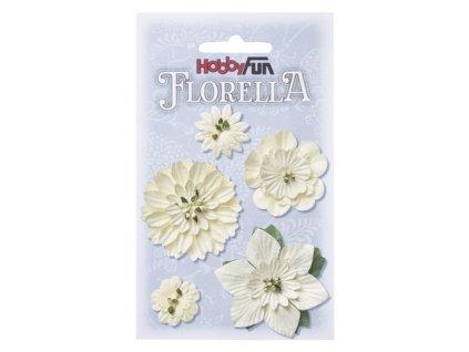 Papírové květy FLORELLA krémové 2-5 cm