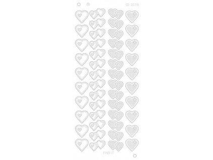 Samolepky metalické zlaté - platina srdce