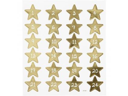 Samolepky zlaté hvězdy a čísly