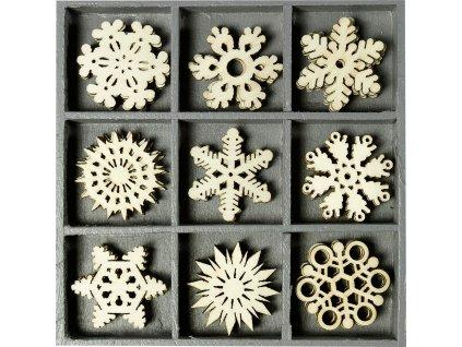 2118521023 dřevěné dekorace sněhové vločky