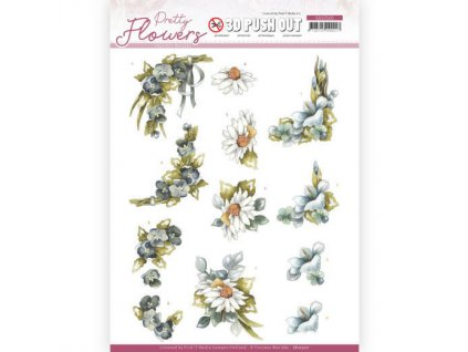 SB10500 papírové výřezy 3D modré květiny