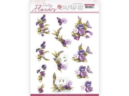 SB10501 papírové výřezy 3D květiny a labutě