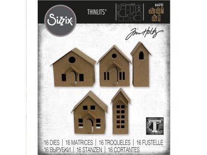 664741 2 3D vesnické domy vyřezávací kovová šablona