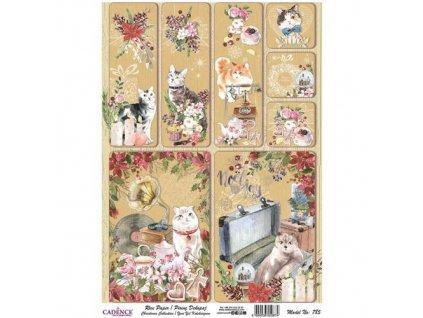 r785 rýžový papír Visačky kočky