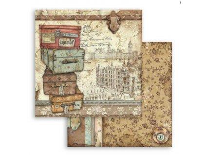 SBB759 scrapbookový papír kufry na cestách