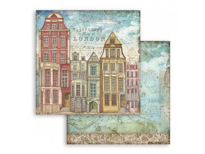 SBB761 scrapbookový papír Londýnské domy