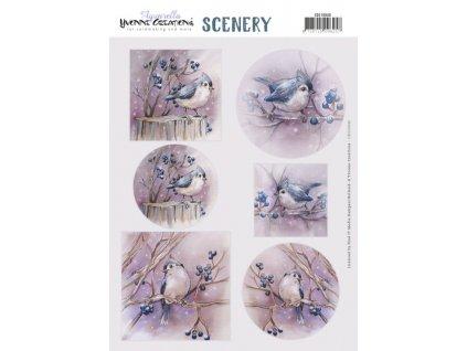 CDS10040 papírové výřezy modrý ptáček v zimě