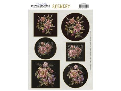 CDS10034 papírové výřezy antické květy