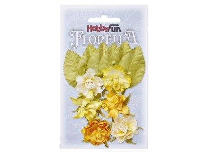 3866084 Papírové květy a listy FLORELLA žluté