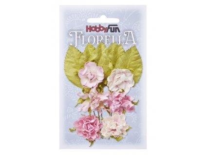 Papírové květy a listy FLORELLA světle růžové