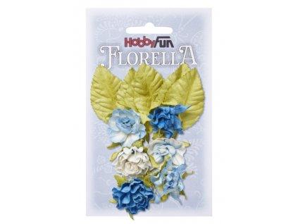 3866089 Papírové květy a listy FLORELLA modré