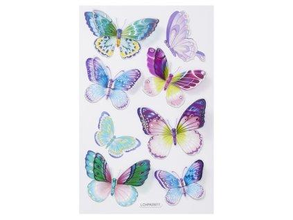 3451397 3D třpytivé samolepky motýli VI.