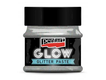 36087 pasta svítící ve tmě glitrová stříbrná modrá