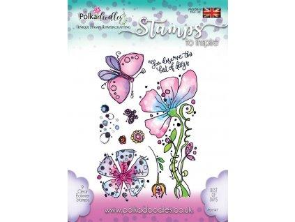 PD7147 silikonová gelová razítka květiny a motýli