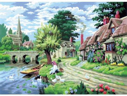 Malování podle čísel Vesnička u řeky