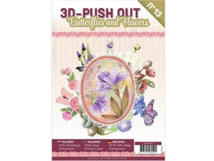 3D Výřezy a papíry v sadě Motýlci a květiny 24 ks