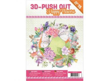 3D Výřezy a papíry v sadě Motýli a květiny 24 ks