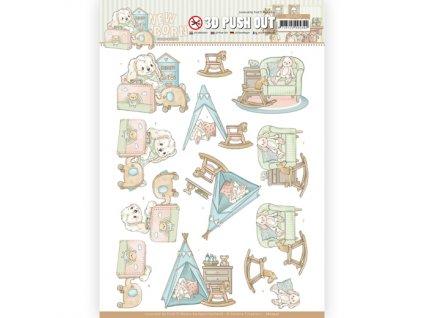 SB10519 3D papírové výřezy Baby houpací kůň