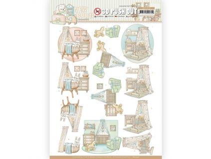 SB10522 3D papírové výřezy Dětská kolébka