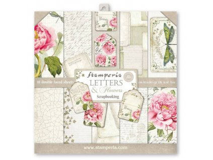 stamperia letters flowers 12x12 inch paper pack sb