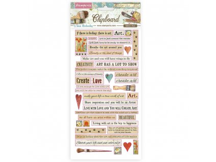 stamperia chipboard 15x30cm atelier quotes dflcb24