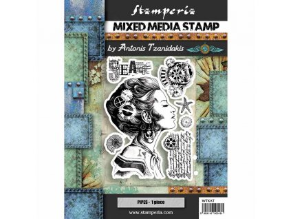 stamperia mixed media stamp lady wtkat09