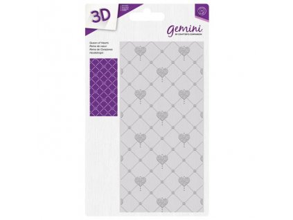 gemini queen of hearts 3d embossing folder gem ef